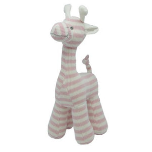 GEMMA 100% COTTON KNITTED GIRAFFE PALE PINK 25CM