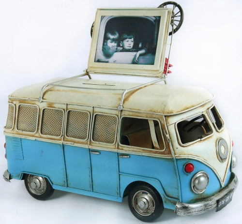 VW Kombi money box & photo frame Blue