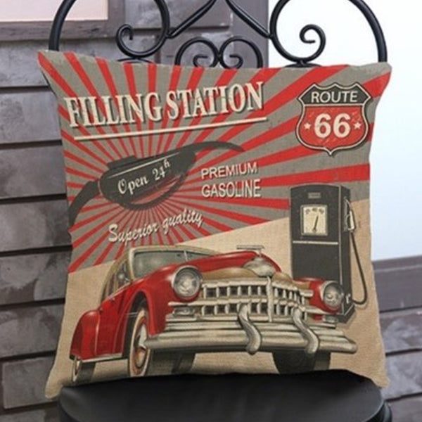 Route 66 Filling Station  Cushion Pre-order