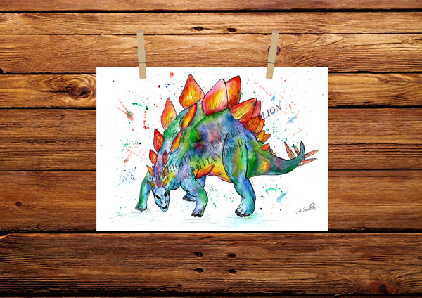 Stegosaurus Watercolour Painting