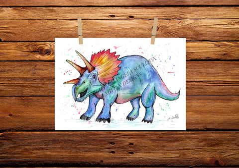 Triceratops Watercolour Painting