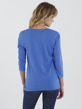 Alex Split Neck Henley 3/4 Sleeve Tee