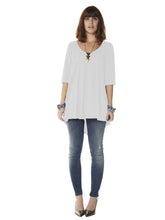 Three-Quarter Sleeve Trapeze Scoop-Neck Tunic