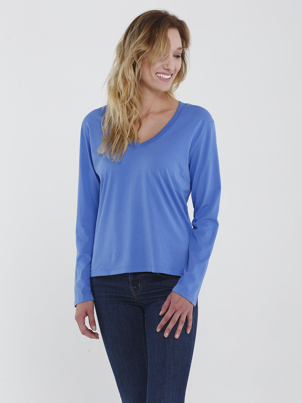 Long Sleeve Boxy V Neck Tee