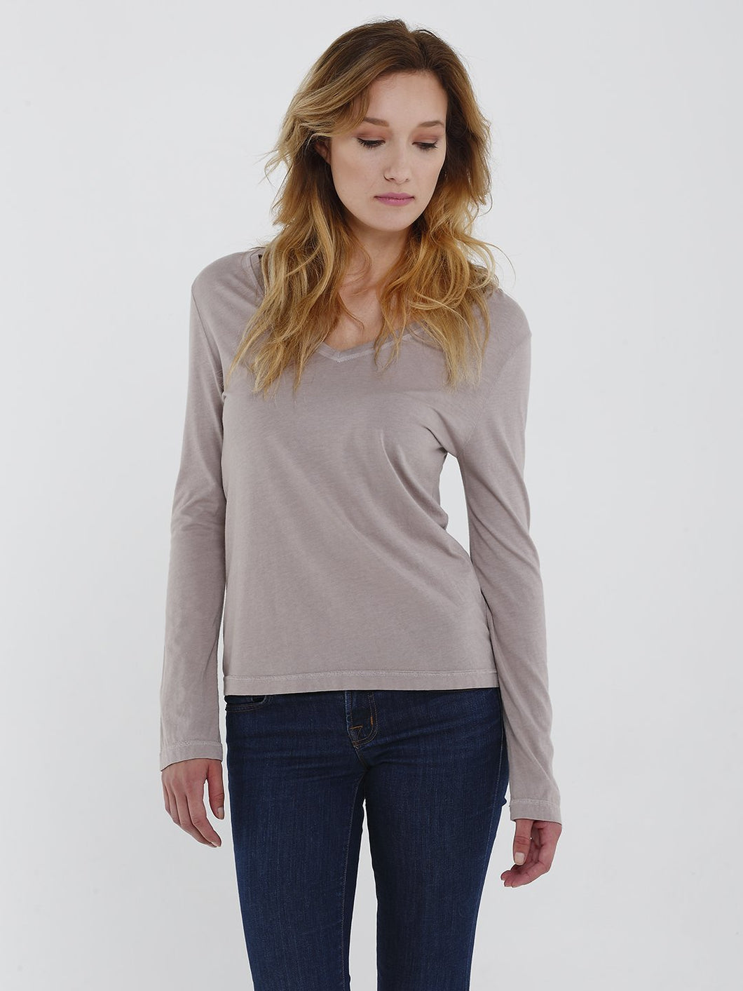 Luxe Long Sleeve Angie Vneck Tee