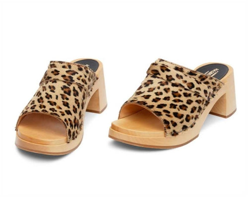 Open Toe Clog in Leopard Faux by Swedish Hasbeens