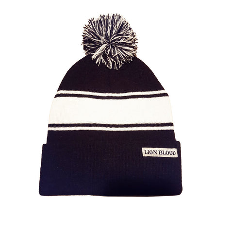 Varsity Striped Beanie Black