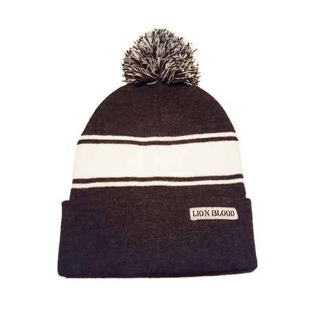 Varsity Striped Beanie Grey