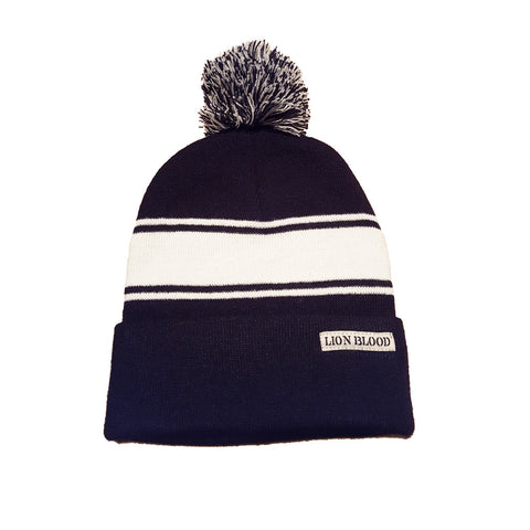 Varsity Striped Beanie Navy