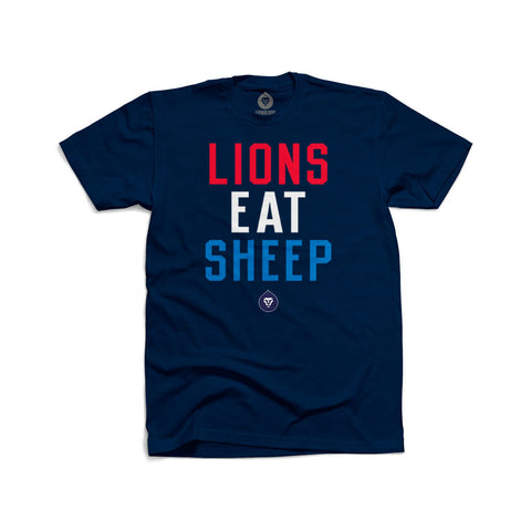 LIONS EAT SHEEP RED WHITE & BLUE
