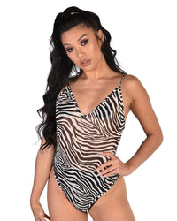 Electric Zebra Mesh Bodysuit-Front