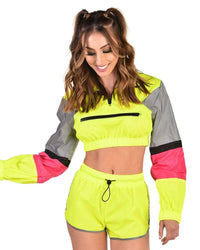 Reflective Energy Shorts Set-Neon Yellow-Front