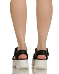 Just Groove Platform Sandals-Black-Back