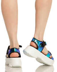 Just Groove Platform Sandals-Blue-Back