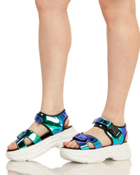 Just Groove Platform Sandals-Blue-Front