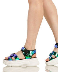 Just Groove Platform Sandals-Blue-Side