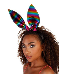 Wild One Rainbow Bunny Ears-Rainbow