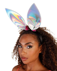 Wild One Rainbow Bunny Ears-Silver