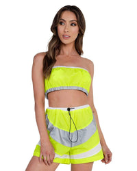 Speed it Up Reflective Shorts Set-Neon Yellow-Front--Hannah---S