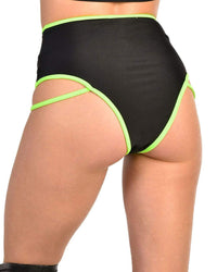 Electric Glow High Waisted Booty Shorts-Back