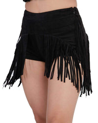 Festival Fringe Suede High Waisted Booty Shorts-Side--Sandy---S