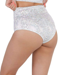 Hologram Electro High Waisted Booty Shorts-Silver-Side--Sandy---S