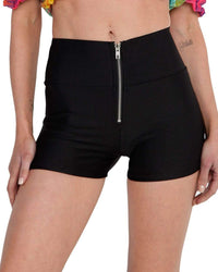 Zipper High Waisted Shorts-Front--Hannah---S