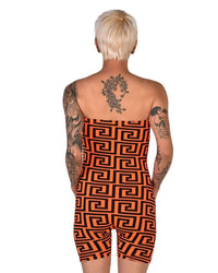 Trippy AF Tube Top Romper-Neon Orange-Back