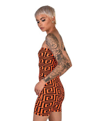 Trippy AF Tube Top Romper-Neon Orange-Side
