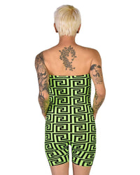 Trippy AF Tube Top Romper-Neon Green-Back