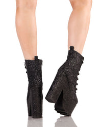 YRU Night Terror Glitter Booties-Black-Back