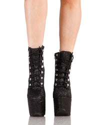YRU Night Terror Glitter Booties-Black-Front