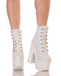 YRU Night Terror Glitter Booties-White-Front