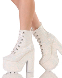 YRU Night Terror Glitter Booties-White-Side