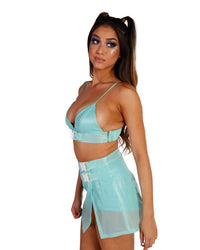 Transcending Lucent Speed Clasp Skort Set-Mint-Side