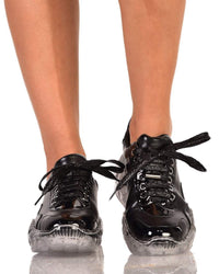 Crystal Clear Sneakers-Black-Front