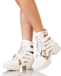 Dancing Time Strappy Combat Boots-Side1