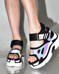 Pump It Up Platform Sneakers Sandals-Black-Reflective