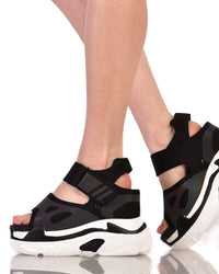 Pump It Up Platform Sneakers Sandals-Black-Side