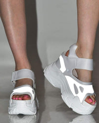Pump It Up Platform Sneakers Sandals-White-Reflective