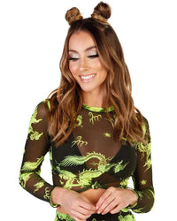 Dragon Secrets Cropped Long Sleeve-Neon Green-Front--Hannah---S