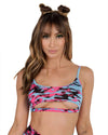 Flamin Hot Universe Underboob Crop Top-Front-Blue/Pink--Hannah---S