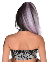 Holographic Flame Tube Top-Black/Silver-Back--Nora---S