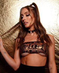 Holographic Flame Tube Top-Black/Gold-Lifestyle--Hannah---S