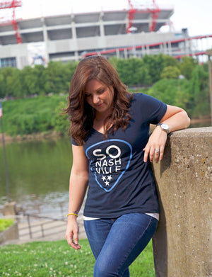 So Nashville™ - Navy/Blue Women's V-Neck - So Nashville Clothing