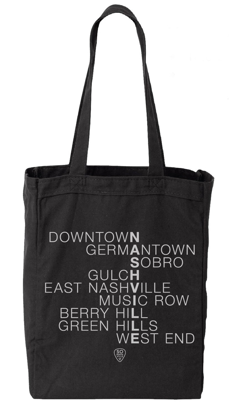 Nashville Neighborhoods Canvas Bag - So Nashville Clothing