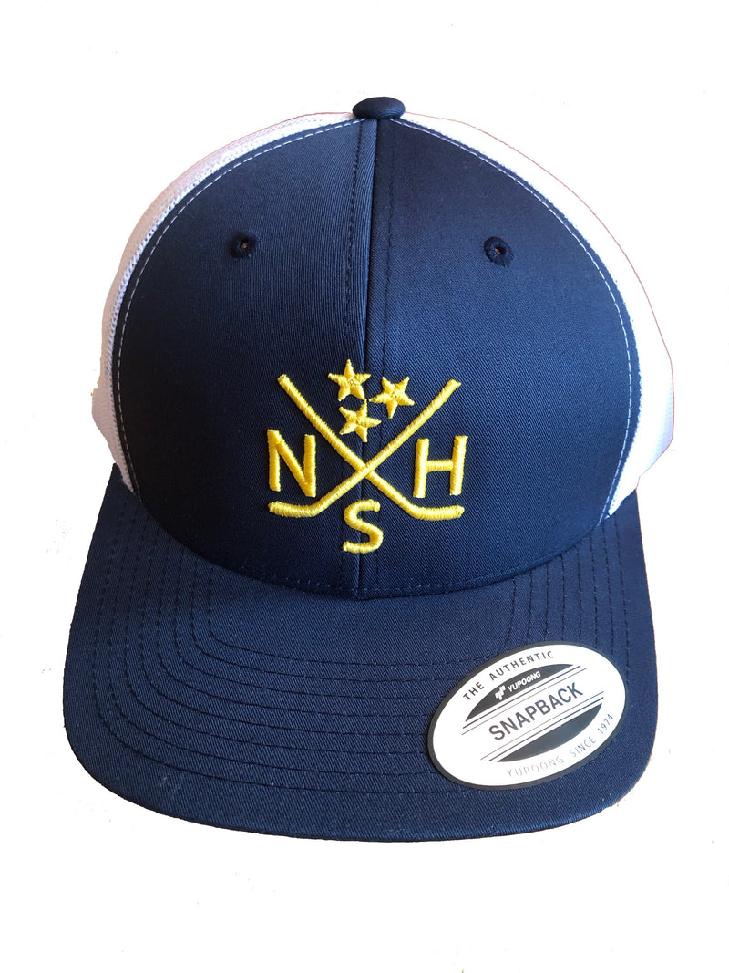 NSH X Hockey Sticks Hat Snapback (Navy/White) - So Nashville Clothing