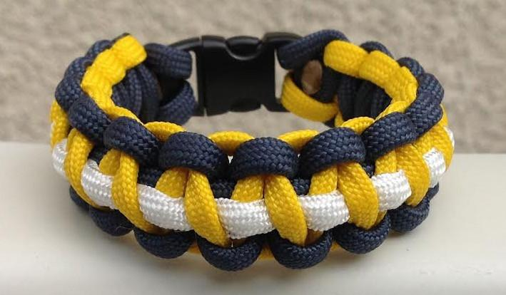 Gold & Navy Paracord Survival Bracelet - So Nashville