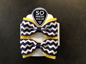 Game Day Bow Set Gold/Navy - So Nashville Clothing