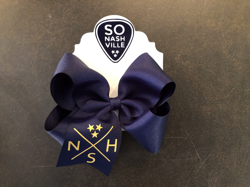 NSH Crossed Hockey Sticks Bow Navy